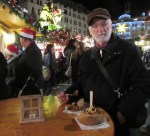 Hot food at the night Christmas market