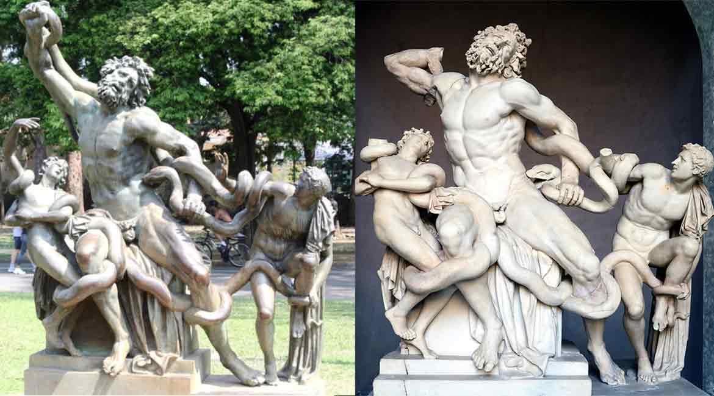 """Cópia em bronze de """"Laocoonte e seus filhos"""" no parque e original em mármore no Museu Pio-Clementino (Vaticano)."""