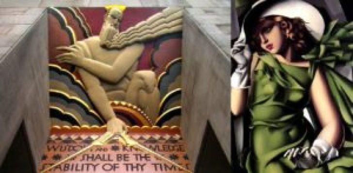 """Exemplos do estilo """"déco"""": à esquerda, """"Wisdom"""" (Sabedoria), baixo relevo policromado acima da porta de entrada do edifício 30 Rockefeller Plaza, Nova York, de Lee Lawrie; à direita, """"Jovem com luvas"""" (1930), óleo sobre tela, de Tamara de Lempicka, Musée National d'Art Moderne, Paris."""