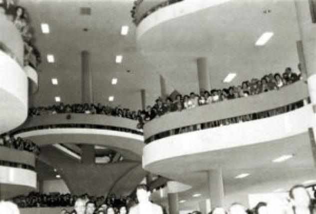 Pavilhão da Bienal do Parque Ibirapuera em uma fotografia da década de 1950.