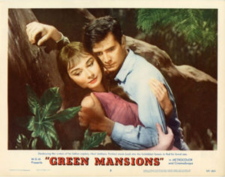 "Cartaz do filme ""Green Mansions"", de 1959, com Audrey Hepburn e Anthony Hopkins."