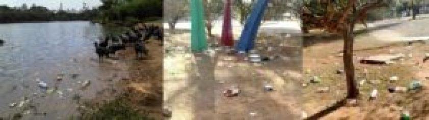 O lixo não discrimina área alguma do parque e vai do Jardim das Esculturas do MAM ao lago...