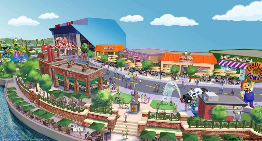 """Springfield está llegando a Universal Orlando Resort! Una nueva zona de Simpsons de temática se abrirá en Universal Studios Florida este verano - permitiendo a los huéspedes a entrar en el mundo de Los Simpson como nunca antes.   Será el único lugar del mundo donde se puede caminar por las calles de Springfield, tomar un sándwich de carne Krusty-certificado en Krusty Burger, se vuelven locos para donas en Lad solar, beber en la taberna de Moe y mucho más! Además habrá Duff Beer - elaborada exclusivamente para Universal Orlando - y una nueva atracción llamada Kang y Kodos 'Twirl' n 'Lanza que le llevará """"los seres humanos tontos"""" en un giro intergaláctico diseñado para enviar en órbita!"""