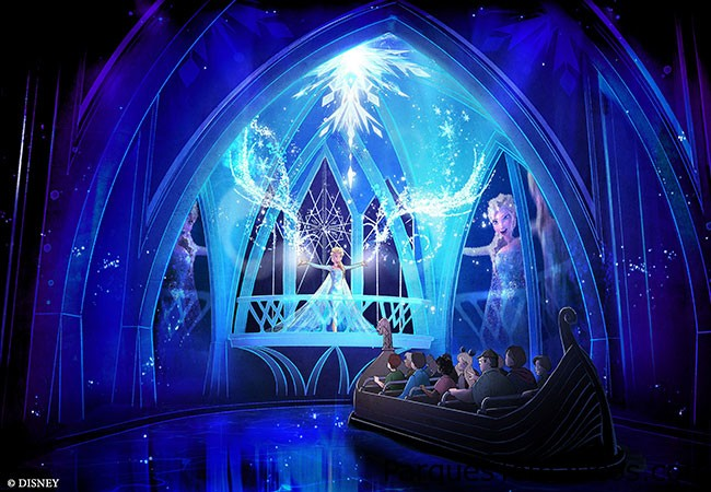 """EPCOT anunció planes para abrir un nuevo paseo """" congelada """" a principios de 2016 , llamada """" congelado para siempre . """" El viaje en Maelstrom , ubicado en el pabellón de Noruega del World Showcase , será renovado en esta nueva atracción basada en la película de animación populares de Disney. El viaje le llevará a Arendelle durante el Festival de Invierno del reino, con personajes y música favorita de la película , todos con tecnología de vanguardia ."""