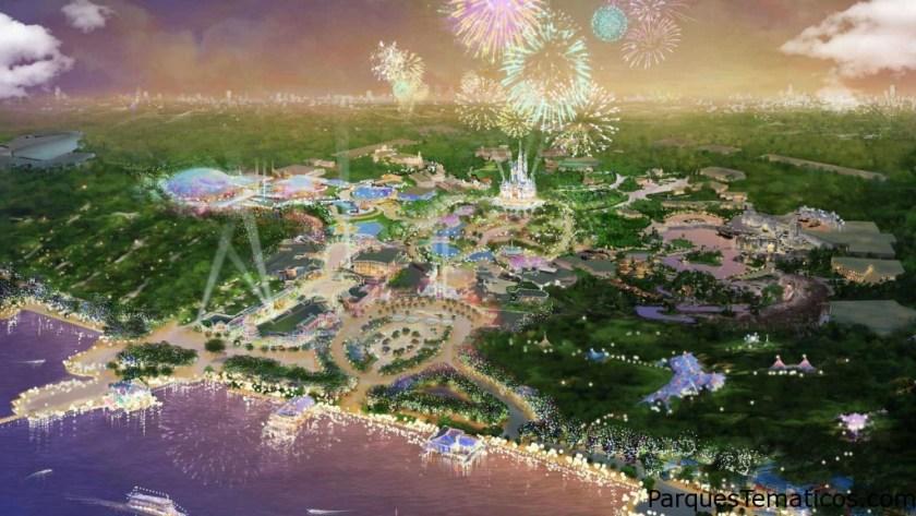 Shanghái Disneyland Hotel y Toy Story Hotel, imaginativamente tematizados y adyacentes al parque.