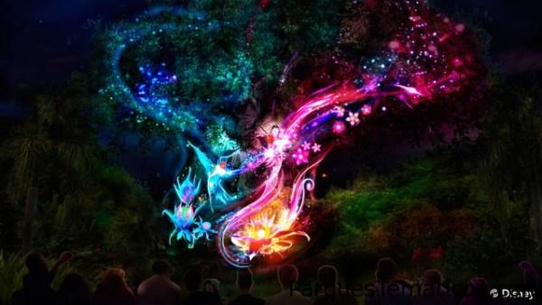 Una luz brillante roodea el Árbol de la vida en el parque temático Disney´s Animal Kingdom