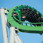 Flat Stan Lee Takes a Ride on The Incredible Hulk Coaster