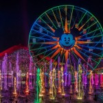 """Lights, water, music, fire and animation come together like never before in """"World of Color"""" at Disney California Adventure park in Anaheim, Calif. The show combines nearly 1,200 powerful fountains with heights that range from 30 feet to 200 feet in the air, dazzling colors and a kaleidoscope of audio and visual effects, including both classic and new animation projected on one of the world's largest projected water screens — a wall of water 380 feet wide by 50 feet high for a projection surface of 19,000 square feet"""