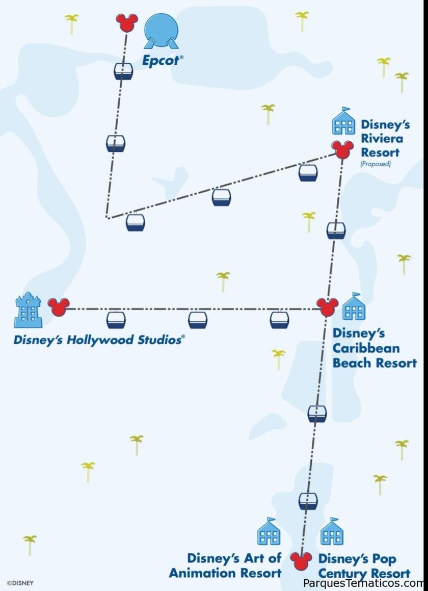 Mapa exclusivo del recorrido del Disney Skyliner en Orlando, Florida