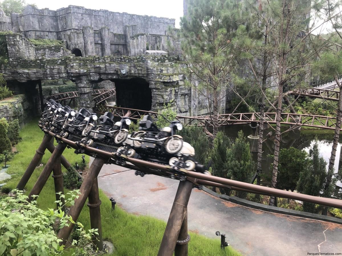 Imágenes exclusivas del vehículo moto de la nueva aventrua de Harry Potter en Orlando, Hagrid's Magical Creatures Motorbike Adventure