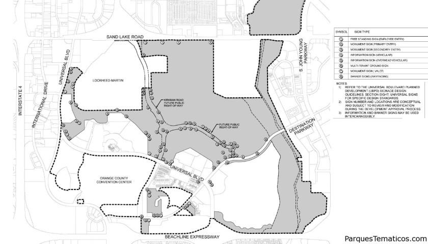 Mapa oficial que muestra la ubicación del nuevo parque con la conexión Kirkman Rd completada