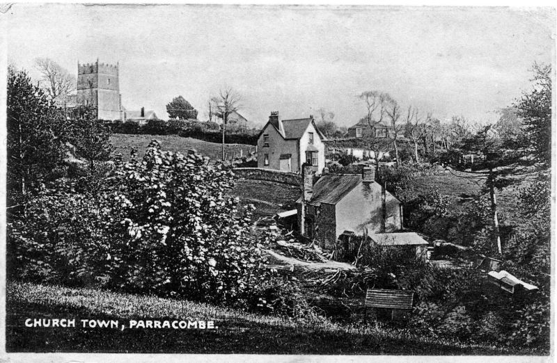 Postcard of 'Church Town, Parracombe' - kind permission of the Antell Family