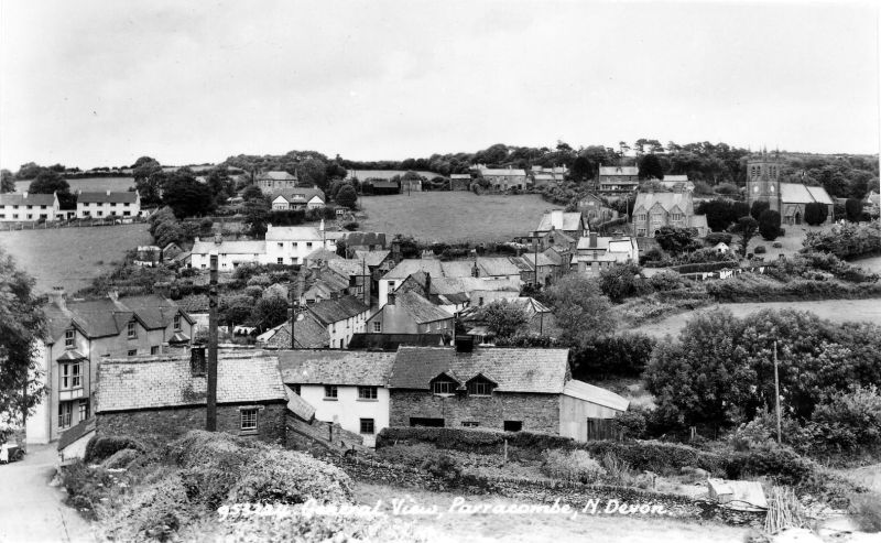 Postcard of 'General View, Parracombe' - kind permission of the Antell Family