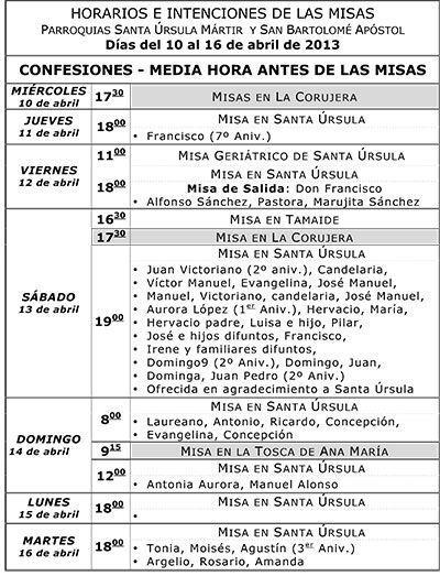 Horarios del 10 al 16 de abril 2013