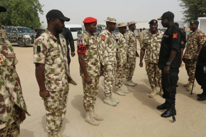 Buratai visits troops on the Boko Haram frontline