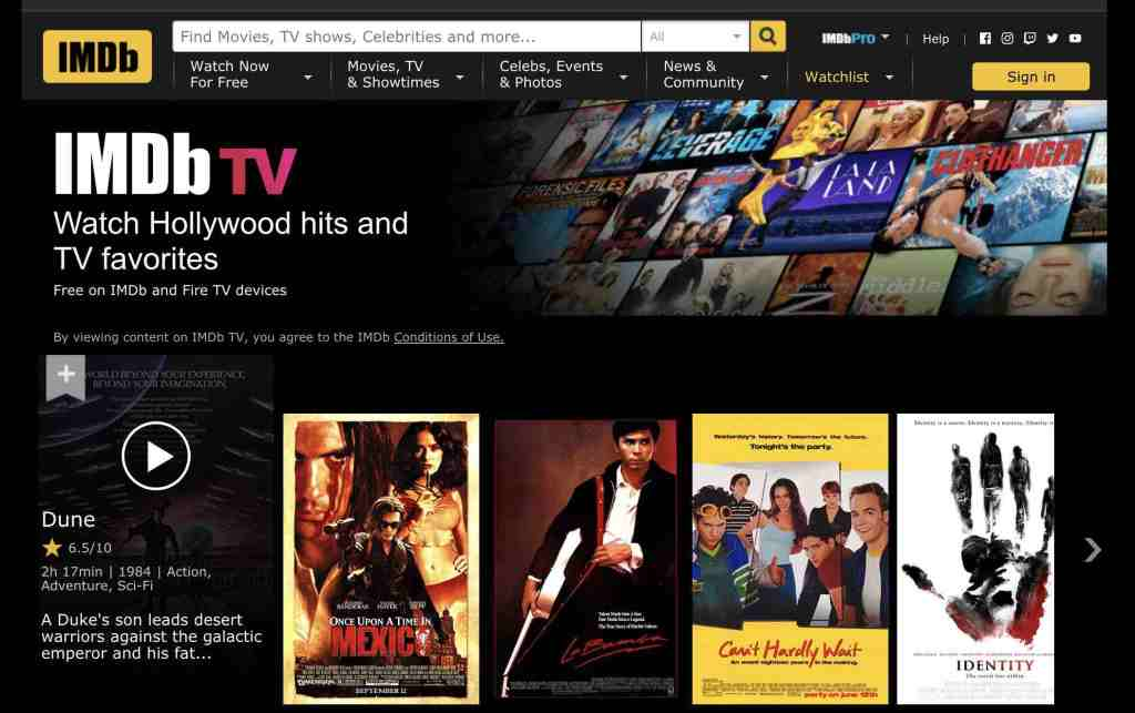 Screenshot of IMDb TV