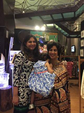 "Benifer Dalal and author Mehernaaz Irani with chief ""taster"" baby Ava Irani in food coma :)"