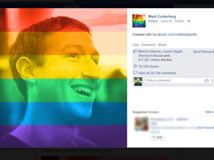"Mark Zuckerbook and millions of others changed their profile photo to include the rainbow flag with it's own ""celebrate pride"" tool."