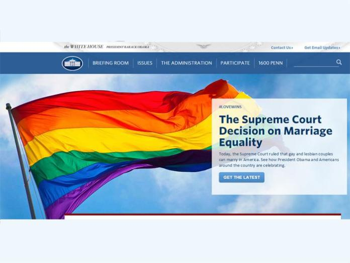 The White House official website proudly displayed the rainbow flag.