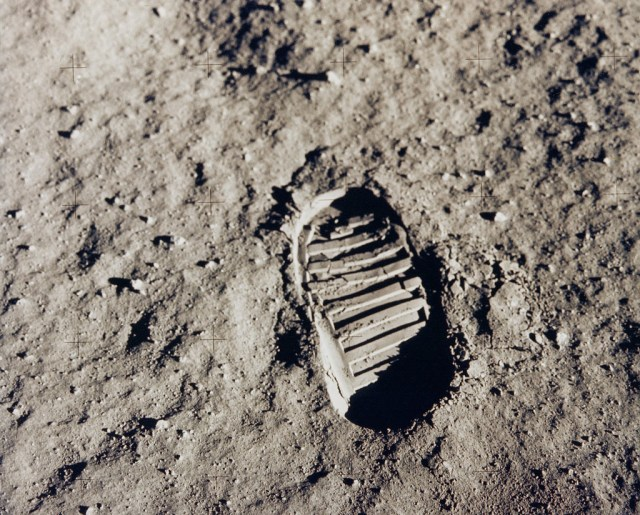 (July 20, 1969) One of the first steps taken on the Moon, this is an image of Buzz Aldrin's bootprint from the Apollo 11 mission. Neil Armstrong and Buzz Aldrin walked on the Moon on July 20, 1969.