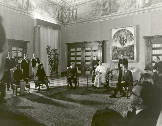 (October 16, 1969) The Apollo 11 astronauts, Neil A. Armstrong, Edwin E. Aldrin, Jr., Michael Collins, and their wives receive a papal audience by Pope Paul VI in the Papal Library, St. Peters Cathedral at the Vatican. The GIANTSTEP-APOLLO 11 Presidential Goodwill Tour emphasized the willingness of the United States to share its space knowledge, and carried the Apollo 11 astronauts and their wives to 24 countries and 27 cities in 45 days.