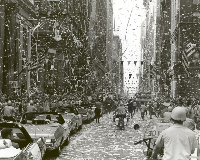 The City of Chicago welcomes the three Apollo 11 astronauts, Neil A. Armstrong, Michael Collins, and Buzz Aldrin, Jr.