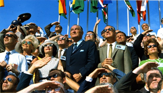 Vice President Spiro Agnew and former President Lyndon B. Johnson view the liftoff of Apollo 11 from pad 39A at Kennedy Space Center at 9:32 am EDT on July 16, 1969.
