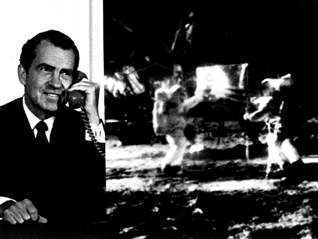"Composite photo of President Richard M. Nixon as he telephoned ""Tranquility Base"" and astronauts Neil Armstrong and Edwin ""Buzz"" Aldrin. The President: ""... For one priceless moment in the history of man, all of the people on this Earth are truly one, one in their pride in what you have done and one in our prayers that you will return safely to Earth."" Astronaut Armstrong: ""...Thank You, Mr. President. It is a great honor and privilege for us to be here representing not only the United States, but men of peaceable nations, men with an intrest and curiosity, and men with a vision for the future. It is an honor for us to be able to participate here today."""