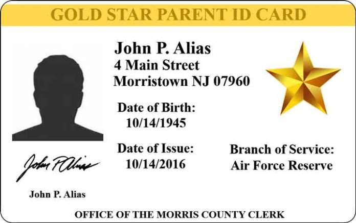 Morris county clerk launches gold star parent id card program morris reheart Image collections