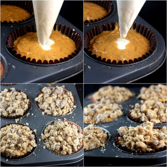 Jumbo Cheesecake Stuffed Pumpkin Muffins with Toffee Pecan Streusel