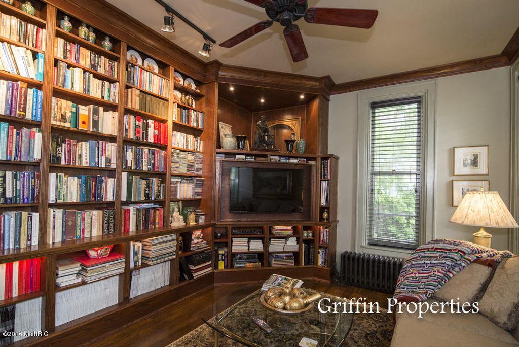 interior of library bookshelves circa 2016