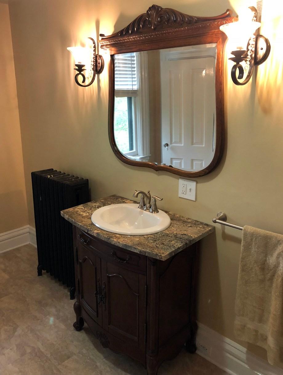 lavatory and mirror on third floor
