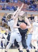 Kadie Colebank from Tucker County takes the ball to the basket at the State Tournament game in Charleston against Parkersburg Catholic on March 12th. The Lady Mt. Lions dropped the game 85-47. Photos by Kelly Pennington.