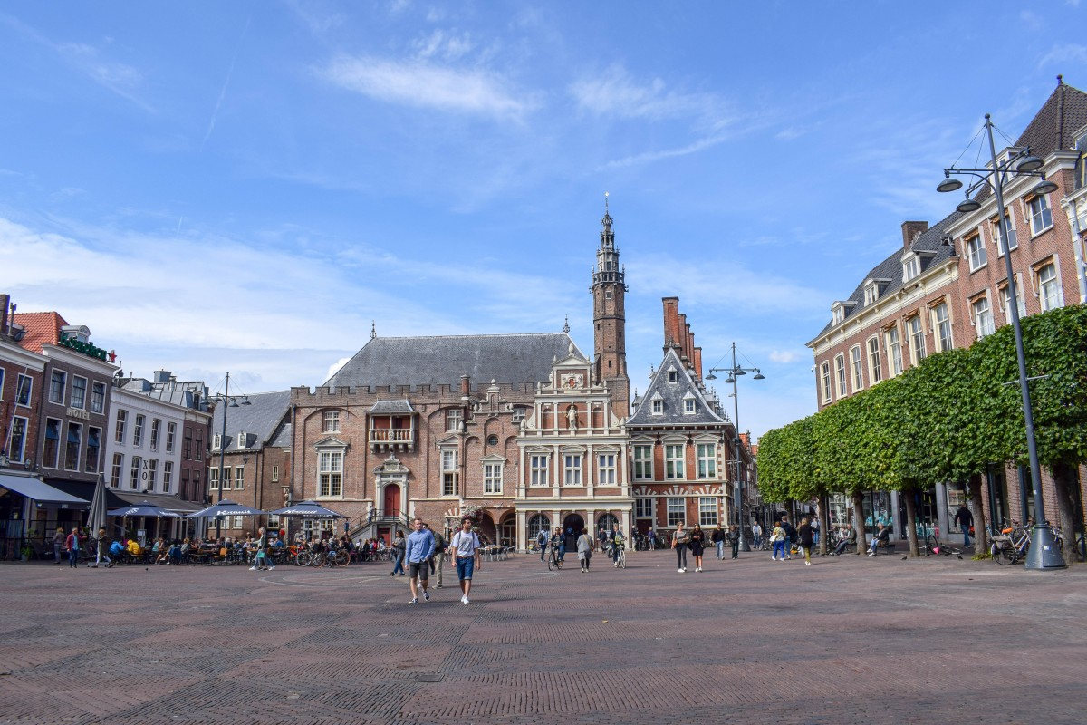 Haarlem main square, or grote markt, in the Netherlands