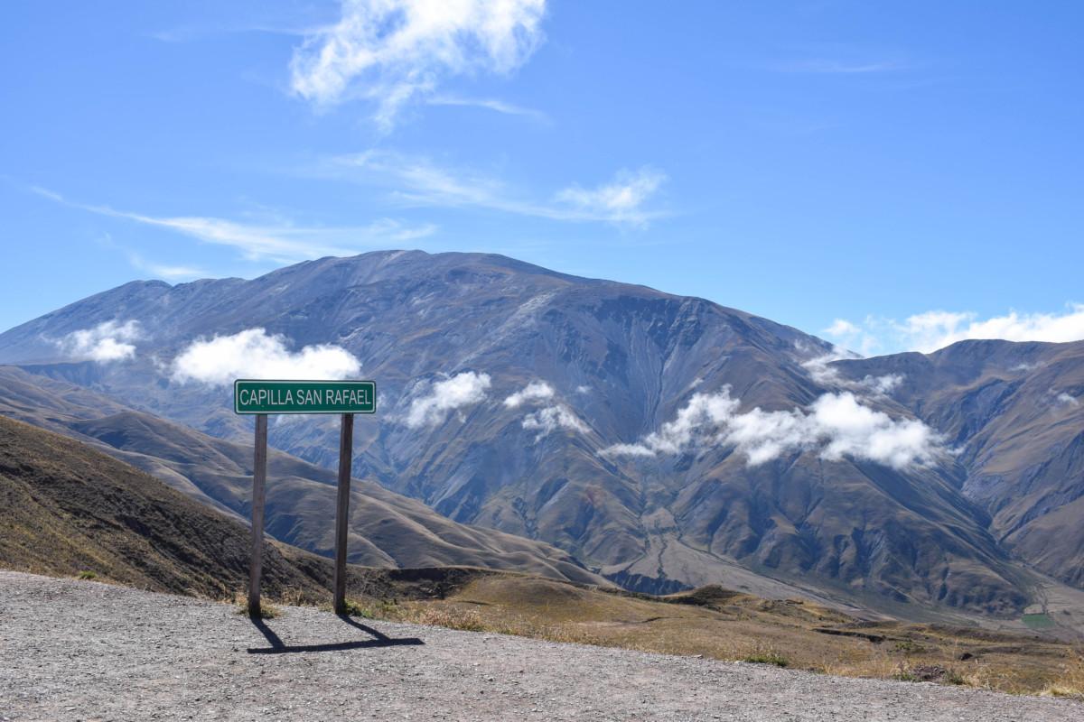 Signpost along Cuesta del Obispo near Cachi Argentina