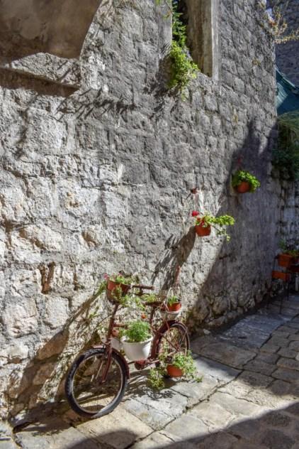 Bike in Perast old town Montenegro