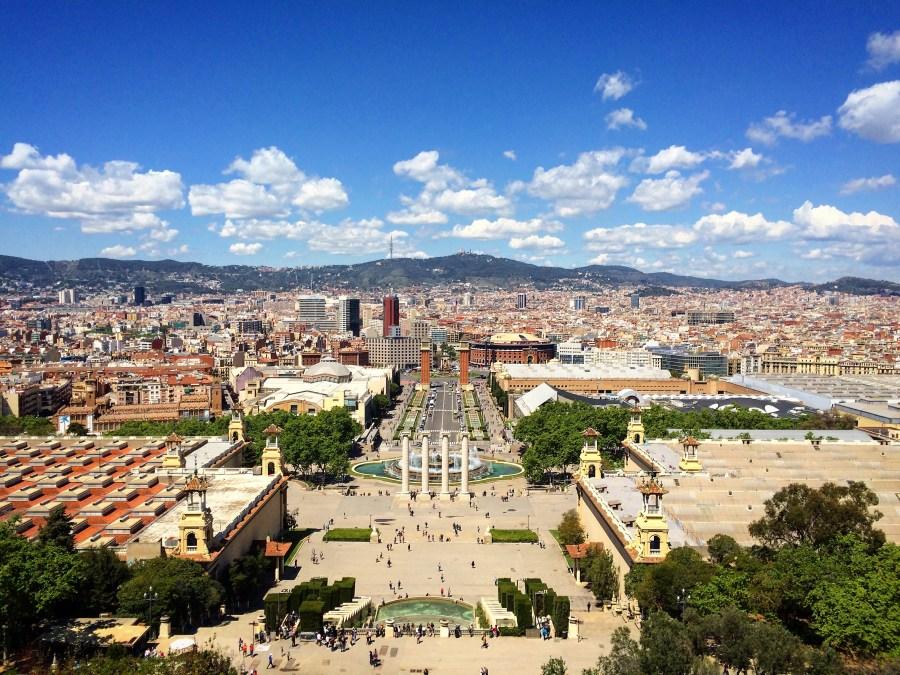 Vista di Plaza Espanya dal Museo dell'Arte della Catalonia