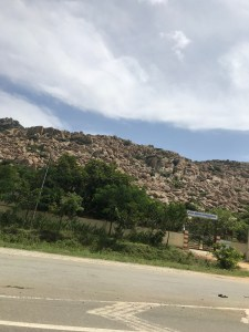 There are small hills along the highway