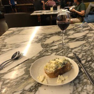 Having Bread, Cheese and Red Wine
