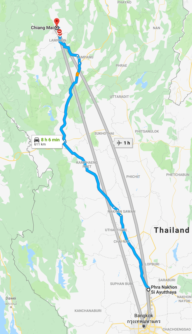 Si Ayuthaya to Chiang Mai Road Map