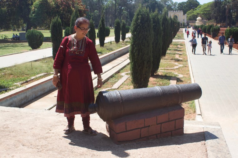 Canon at the entrance of the Tipu Sultan Summer Palace