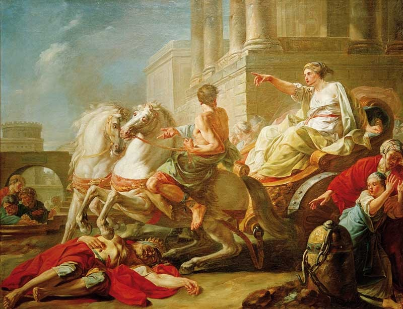 Jean Bardin c. 1765 Tullia drives over the corpse of her Father