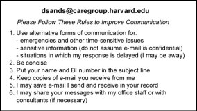 Email guidelines formatted for business card - ten years ago