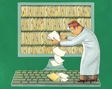 Paper records spilling from doctor's shelf onto a keyboard