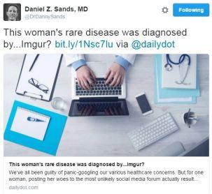 Dr Danny Sands tweet about Imgur diagnosis