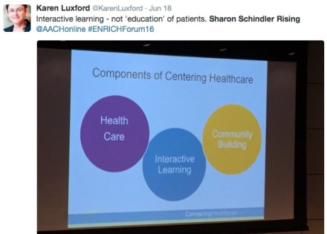 "@KarenLuxford tweet about Rising's slide: """"Interactive learning - not 'education' of patient"""