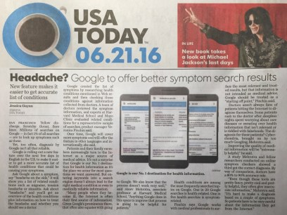 Photo of USA Today story on Google Harvard Mayo story