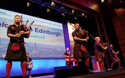 #SPM2018 speaker @MightyCasey gets piped in at Cochrane in Edinburgh