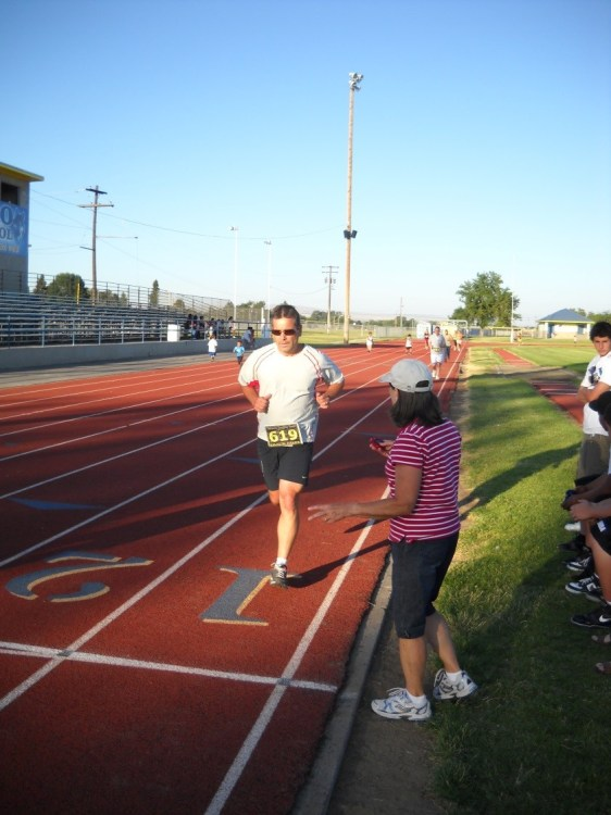 Figure 2.  Yakama Healthy Heart Program Family Track Meet mile running race for clinic staff and patients.