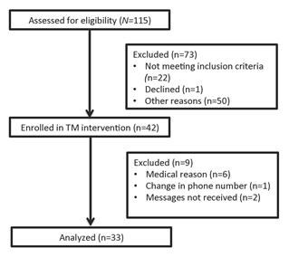 Figure 1. Study diagram including patient enrollment and data analysis for the prospective TM study.